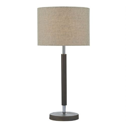 Hunter Table Lamp Grey Wood Polished Chrome complete with Shade HUN4239 (Class 2 Double Insulated)